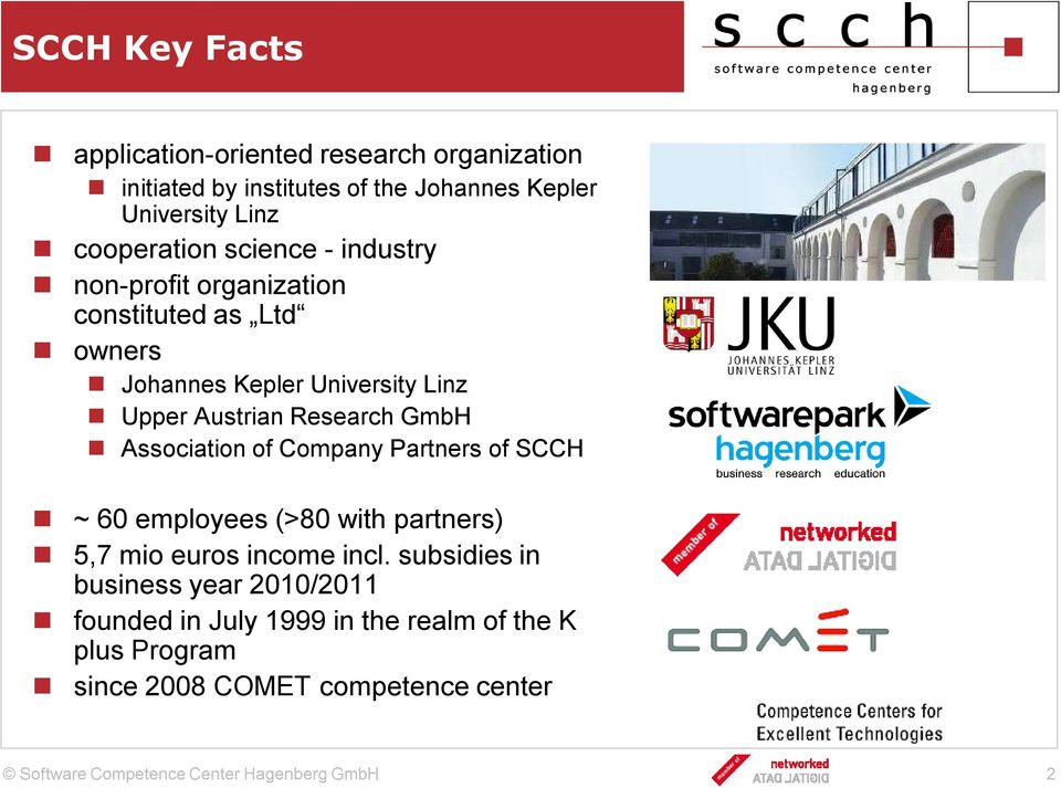 Austrian Research GmbH Association of Company Partners of SCCH ~ 60 employees (>80 with partners) 5,7 mio euros income incl.