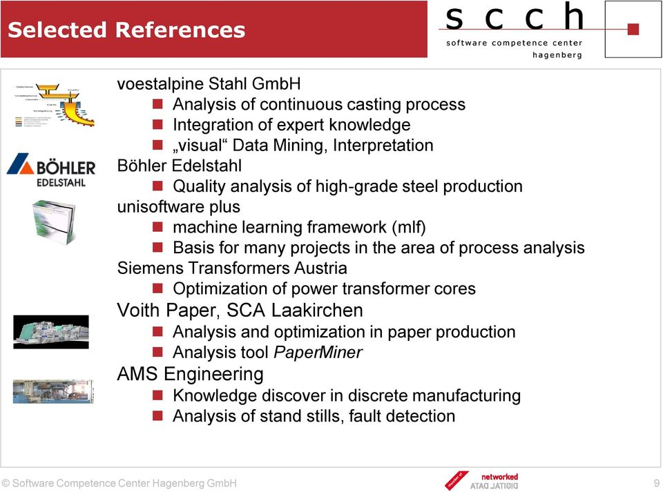 projects in the area of process analysis Siemens Transformers Austria Optimization of power transformer cores Voith Paper, SCA Laakirchen Analysis