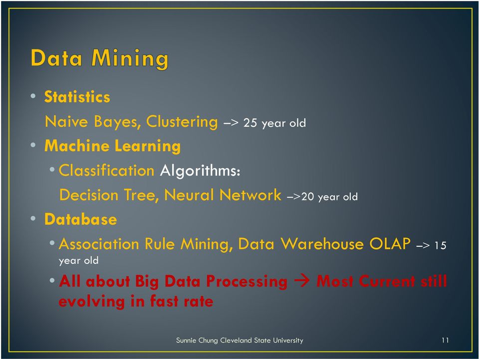 Database Association Rule Mining, Data Warehouse OLAP > 15 year old