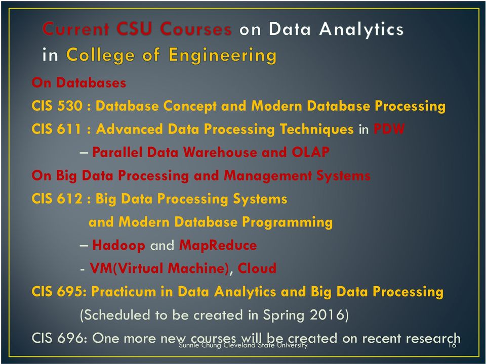 Programming Hadoop and MapReduce - VM(Virtual Machine), Cloud CIS 695: Practicum in Data Analytics and Big Data Processing