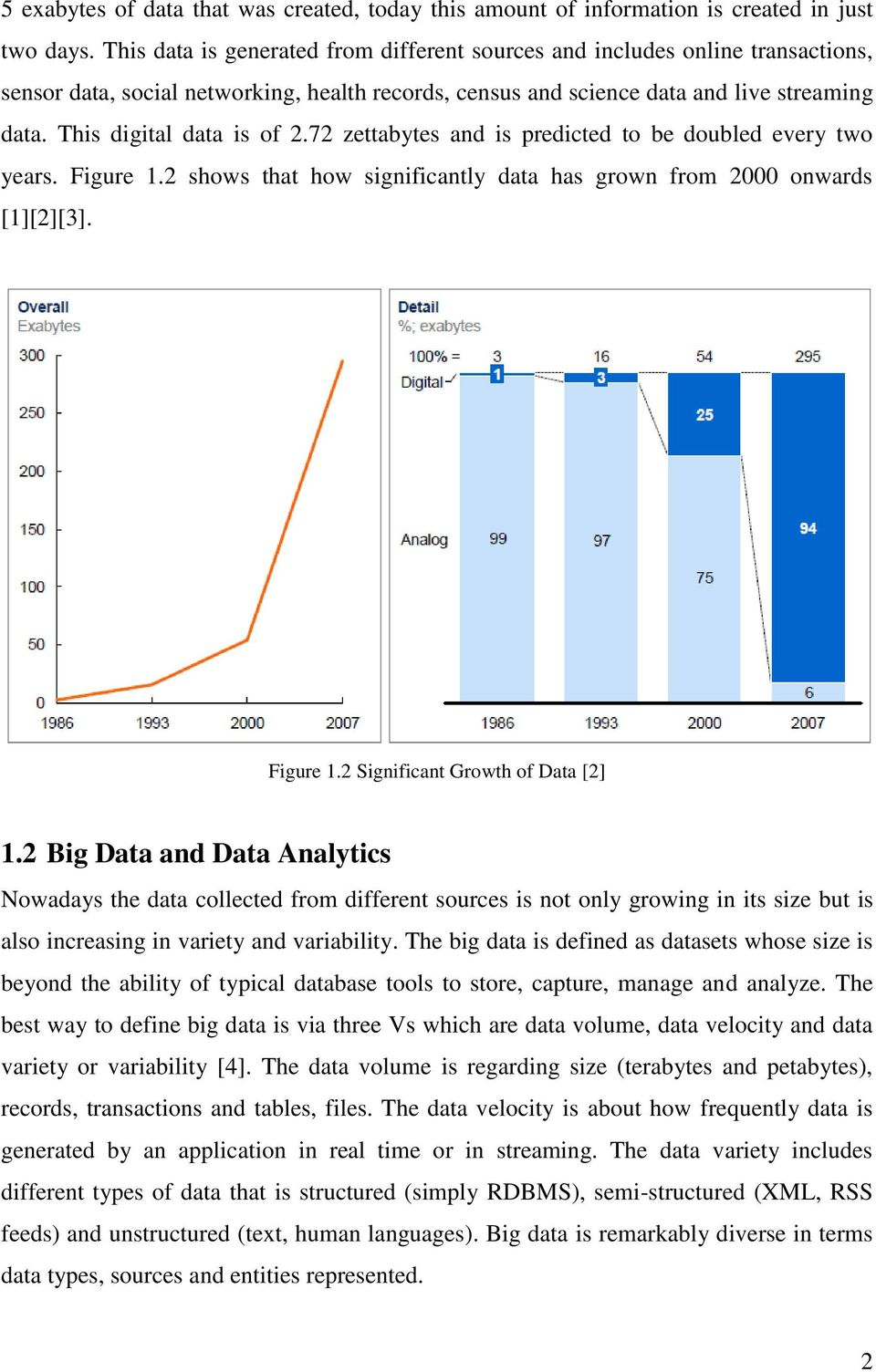 This digital data is of 2.72 zettabytes and is predicted to be doubled every two years. Figure 1.2 shows that how significantly data has grown from 2000 onwards [1][2][3]. Figure 1.2 Significant Growth of Data [2] 1.