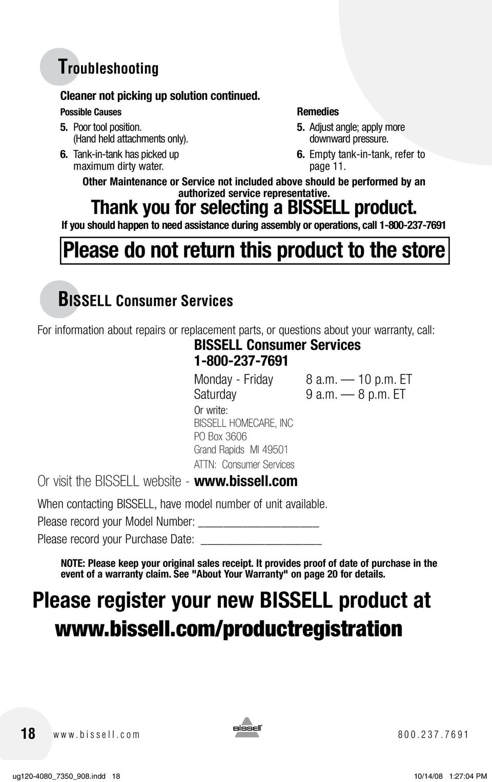 Thank you for selecting a BISSELL product.