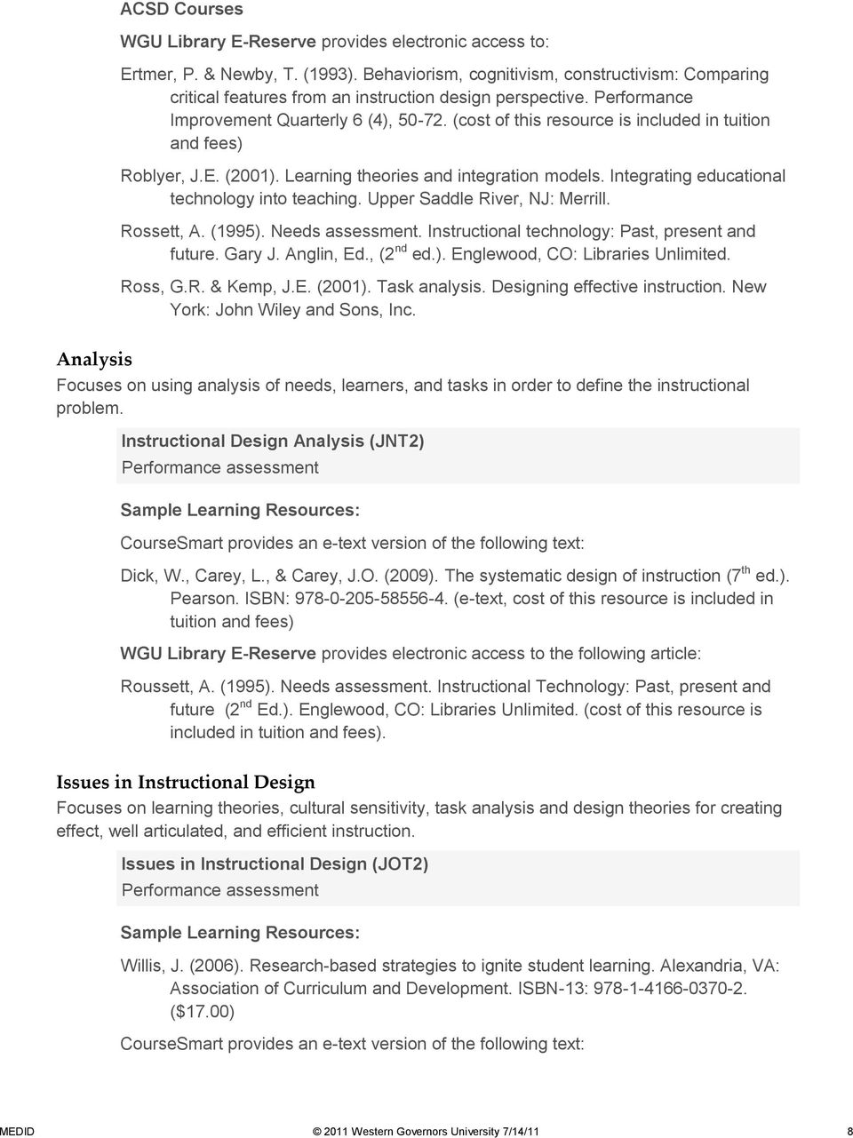 (cost of this resource is included in tuition and fees) Roblyer, J.E. (2001). Learning theories and integration models. Integrating educational technology into teaching.