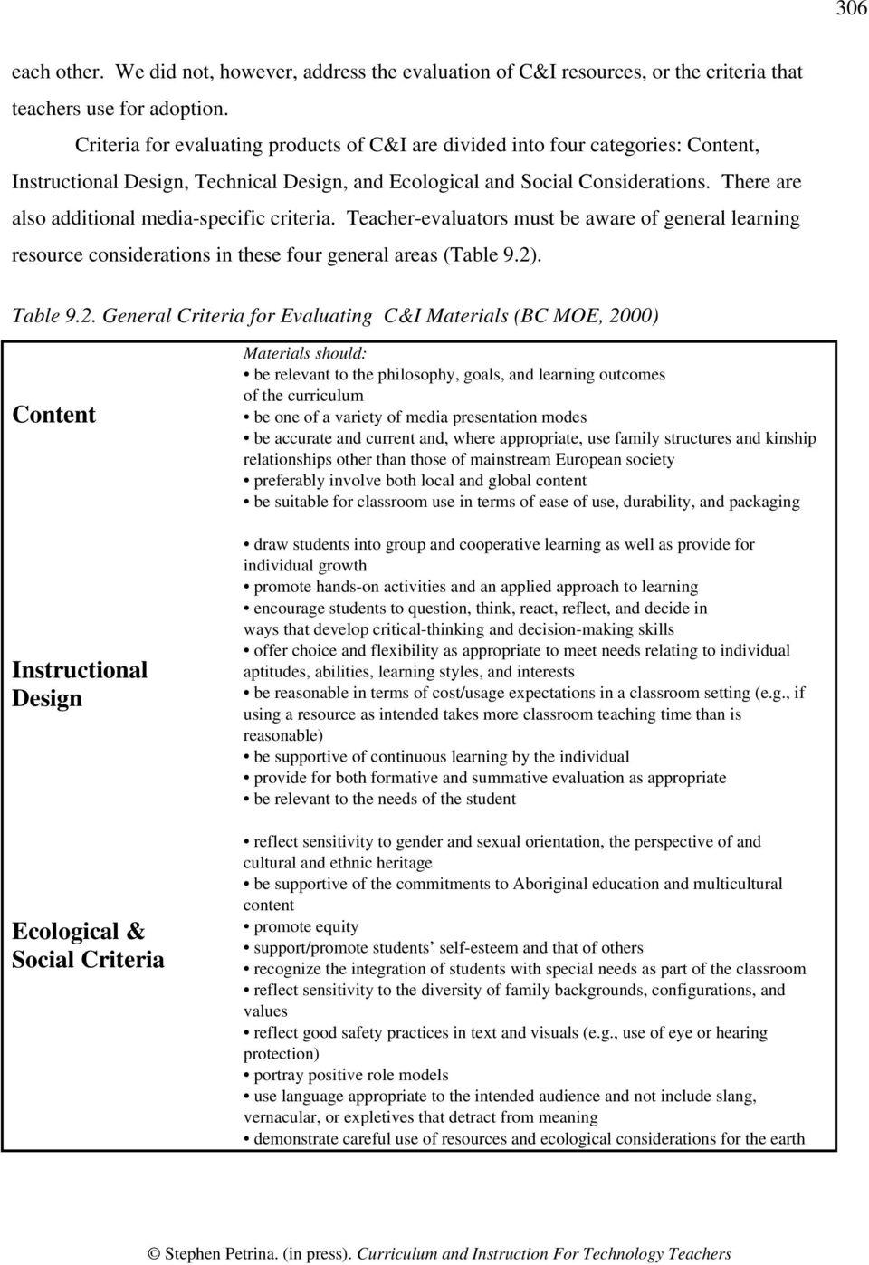 There are also additional media-specific criteria. Teacher-evaluators must be aware of general learning resource considerations in these four general areas (Table 9.2)