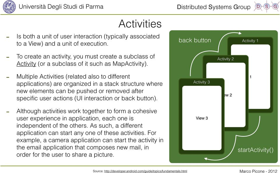 Activity 2 - Multiple Activities (related also to different applications) are organized in a stack structure where new elements can be pushed or removed after specific user actions (UI interaction or