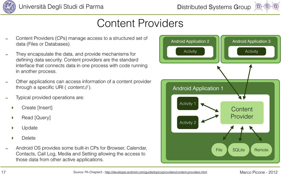 - Other applications can access information of a content provider through a specific URI ( content:// ).