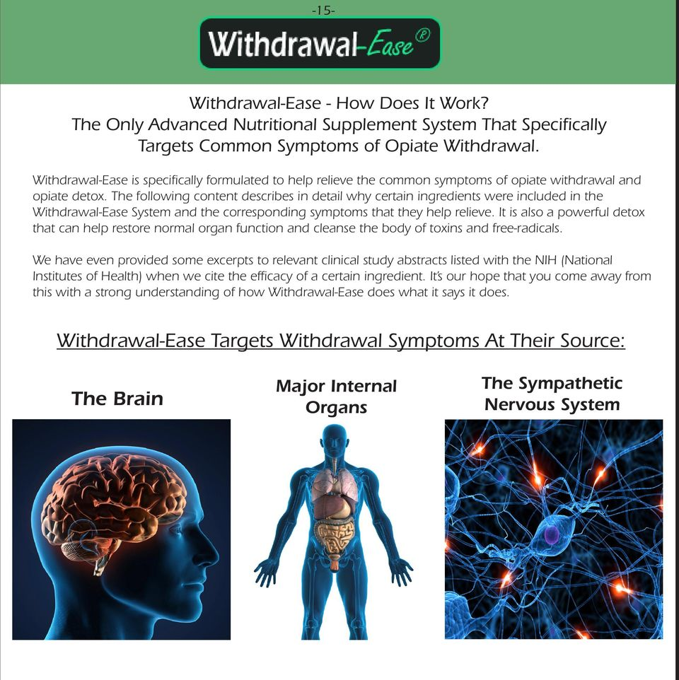 The following content describes in detail why certain ingredients were included in the Withdrawal-Ease System and the corresponding symptoms that they help relieve.