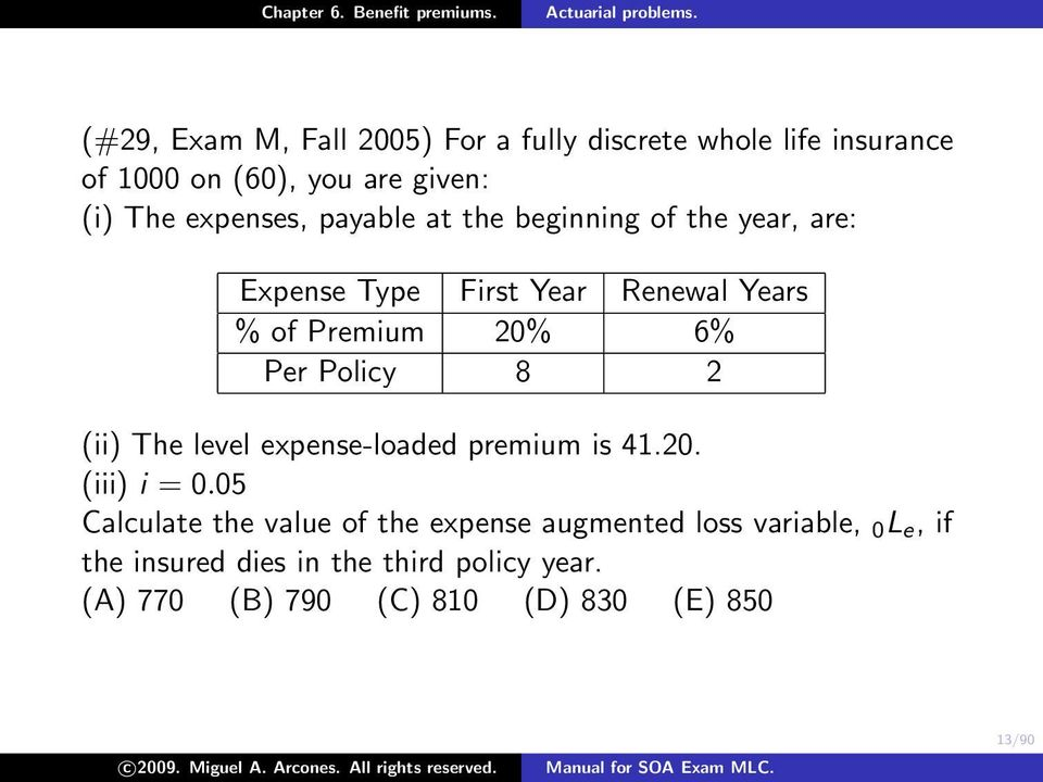 Per Policy 8 2 (ii) The level expense-loaded premium is 41.20. (iii) i = 0.