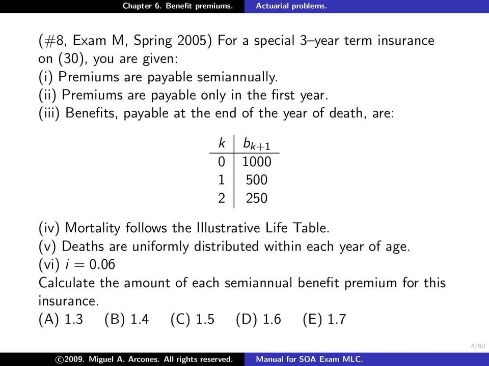 (iii) Benefits, payable at the end of the year of death, are: k b k+1 0 1000 1 500 2 250 (iv) Mortality follows the