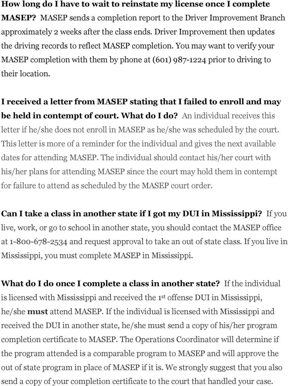 I received a letter from MASEP stating that I failed to enroll and may be held in contempt of court. What do I do?