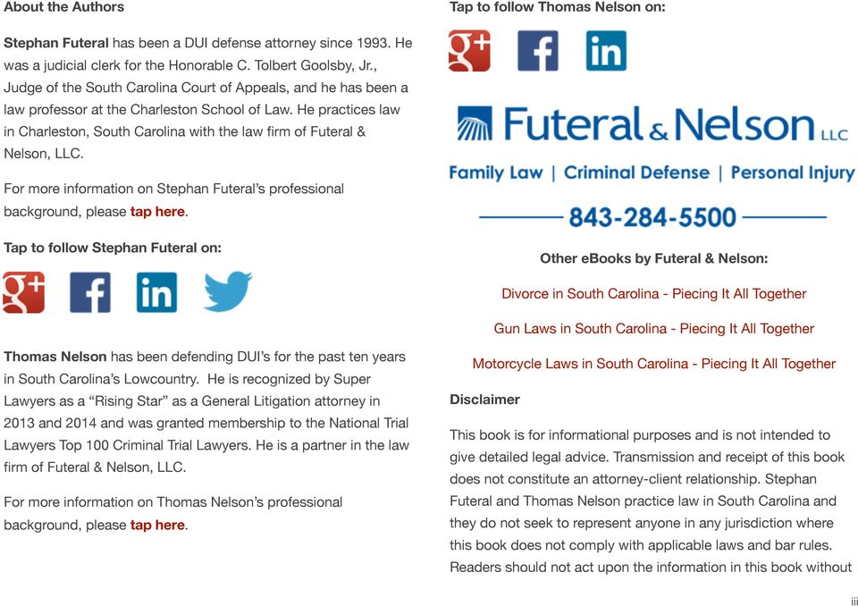 He practices law in Charleston, South Carolina with the law firm of Futeral & Nelson, LLC. For more information on Stephan Futeral s professional background, please tap here.