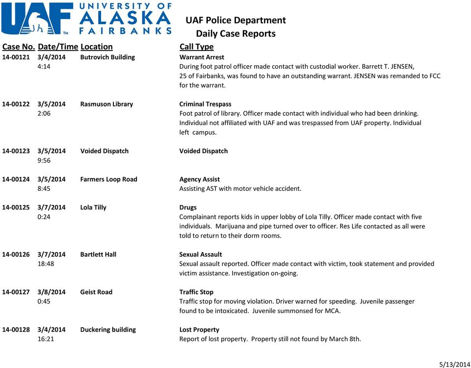 Individual not affiliated with UAF and was trespassed from UAF property. Individual left campus.