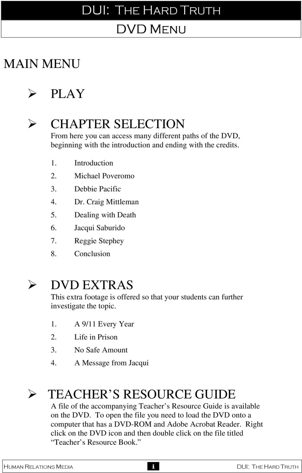 Conclusion DVD EXTRAS This extra footage is offered so that your students can further investigate the topic. 1. A 9/11 Every Year 2. Life in Prison 3. No Safe Amount 4.
