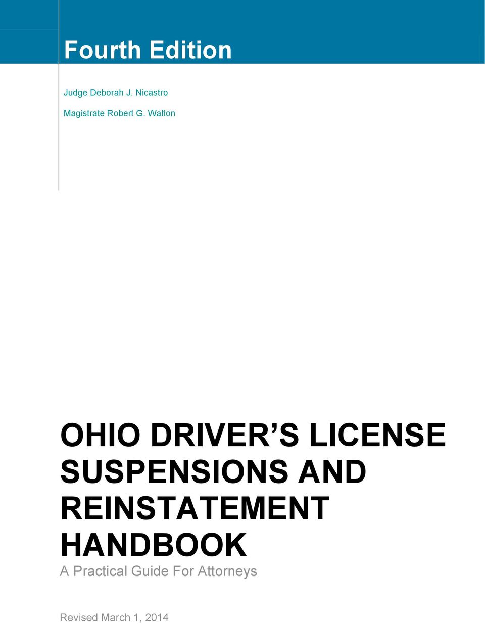 Walton OHIO DRIVER S LICENSE SUSPENSIONS AND