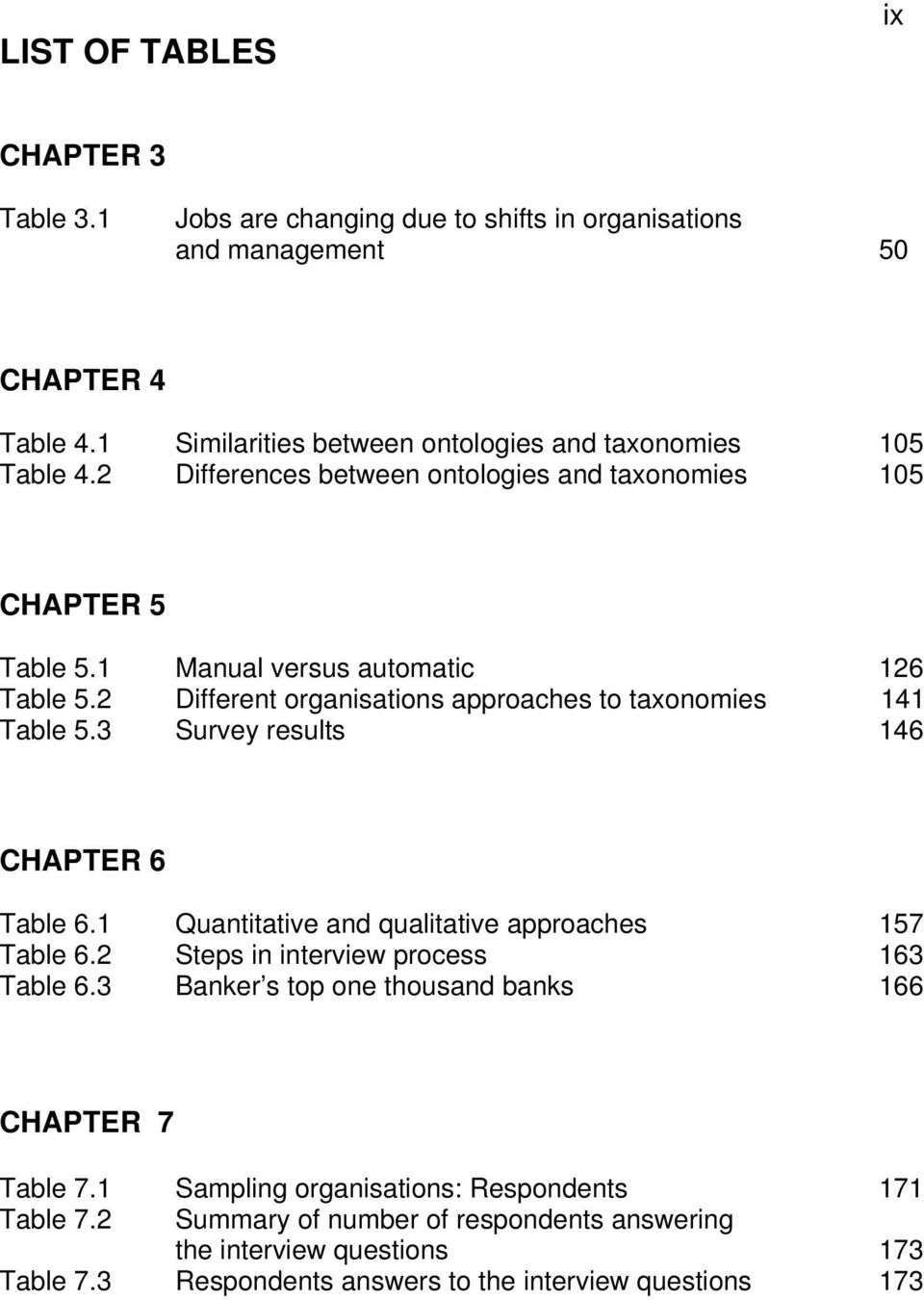 2 Different organisations approaches to taxonomies 141 Table 5.3 Survey results 146 CHAPTER 6 Table 6.1 Quantitative and qualitative approaches 157 Table 6.