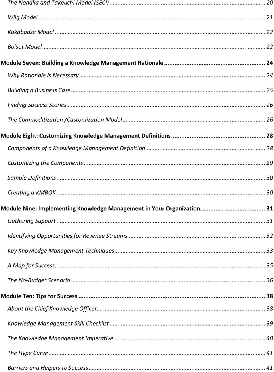.. 28 Cmpnents f a Knwledge Management Definitin... 28 Custmizing the Cmpnents... 29 Sample Definitins... 30 Creating a KMBOK... 30 Mdule Nine: Implementing Knwledge Management in Yur Organizatin.