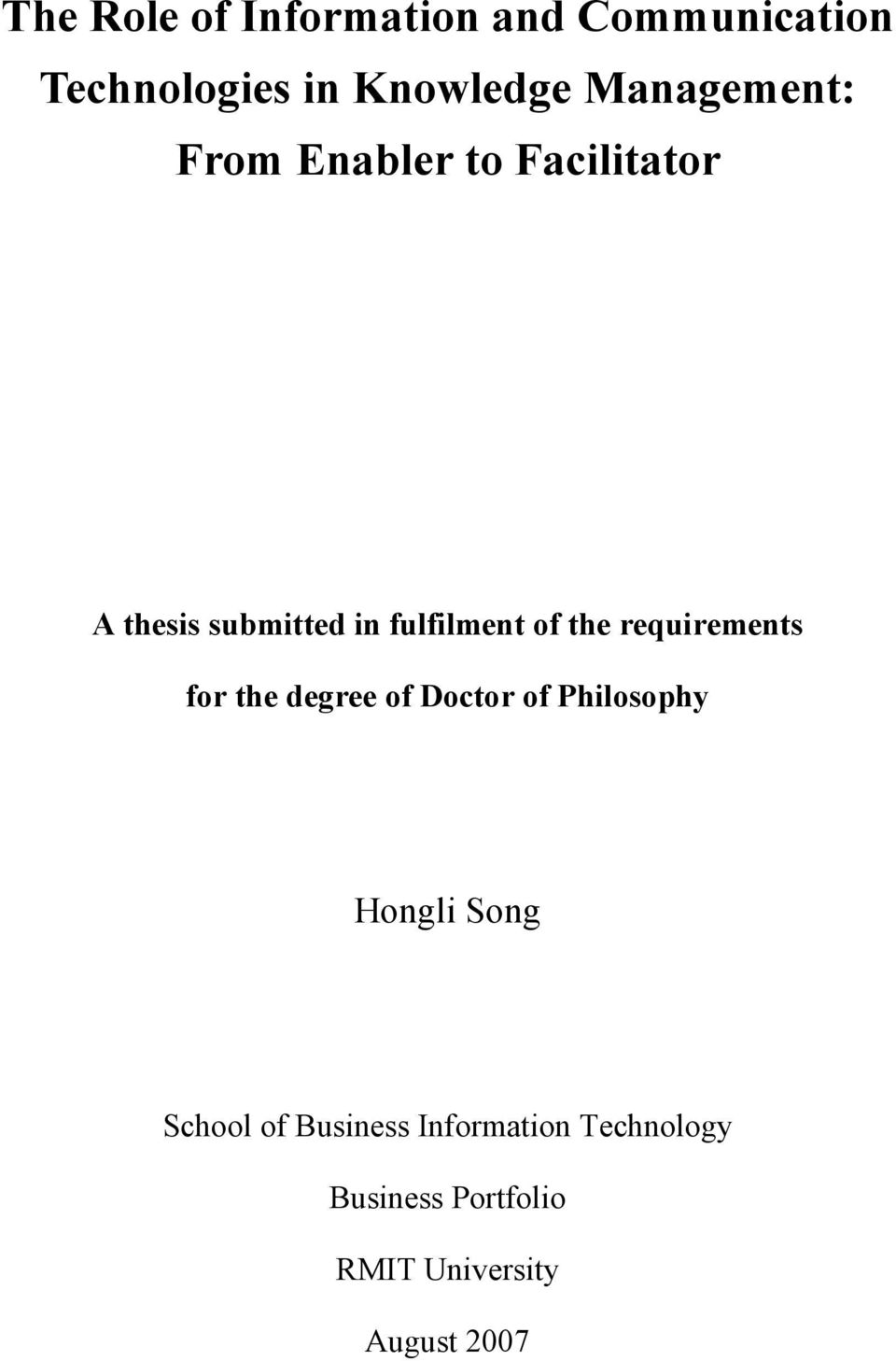 of the requirements for the degree of Doctor of Philosophy Hongli Song