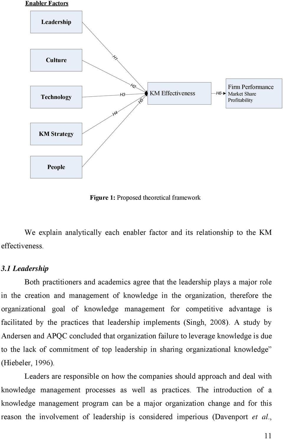 1 Leadership Both practitioners and academics agree that the leadership plays a major role in the creation and management of knowledge in the organization, therefore the organizational goal of