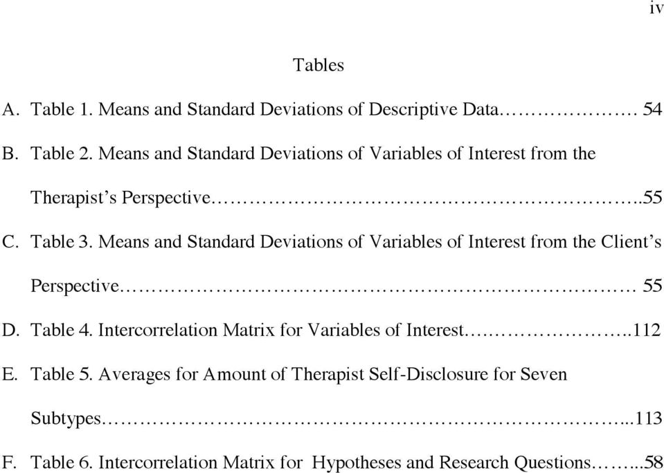 Means and Standard Deviations of Variables of Interest from the Client s Perspective 55 D. Table 4.