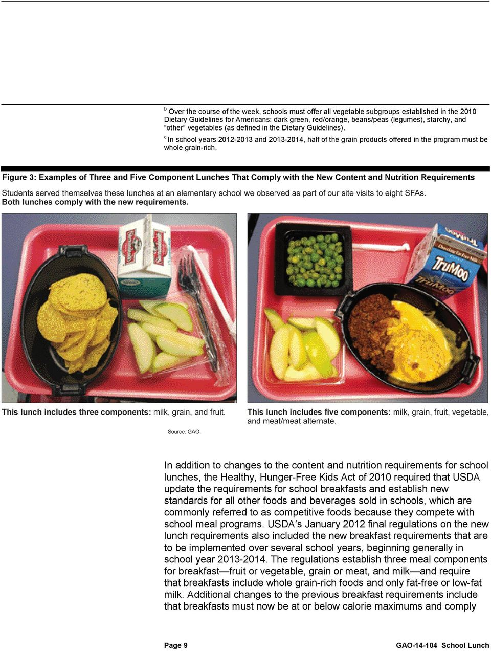 Figure 3: Examples of Three and Five Component Lunches That Comply with the New Content and Nutrition Requirements In addition to changes to the content and nutrition requirements for school lunches,