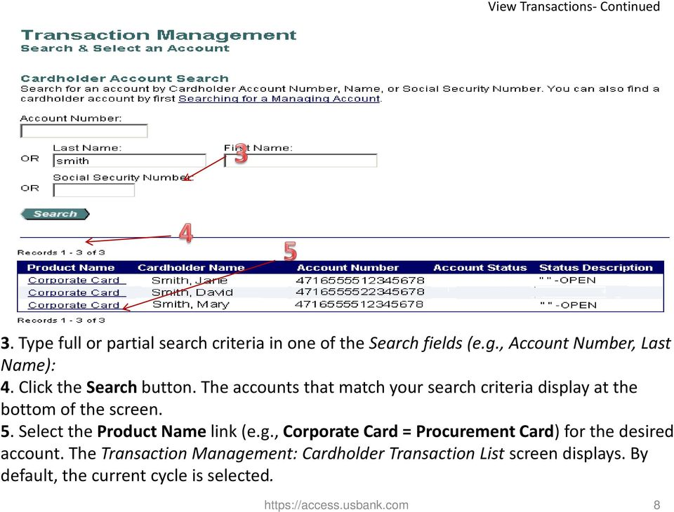 The accounts that match your search criteria display at the bottom of the screen. 5. Select the Product Name link (e.g.