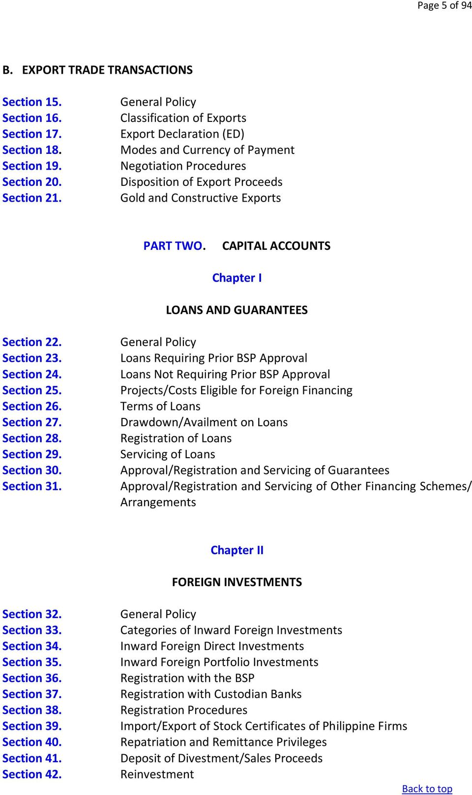 CAPITAL ACCOUNTS Chapter I LOANS AND GUARANTEES Section 22. Section 23. Section 24. Section 25. Section 26. Section 27. Section 28. Section 29. Section 30. Section 31.