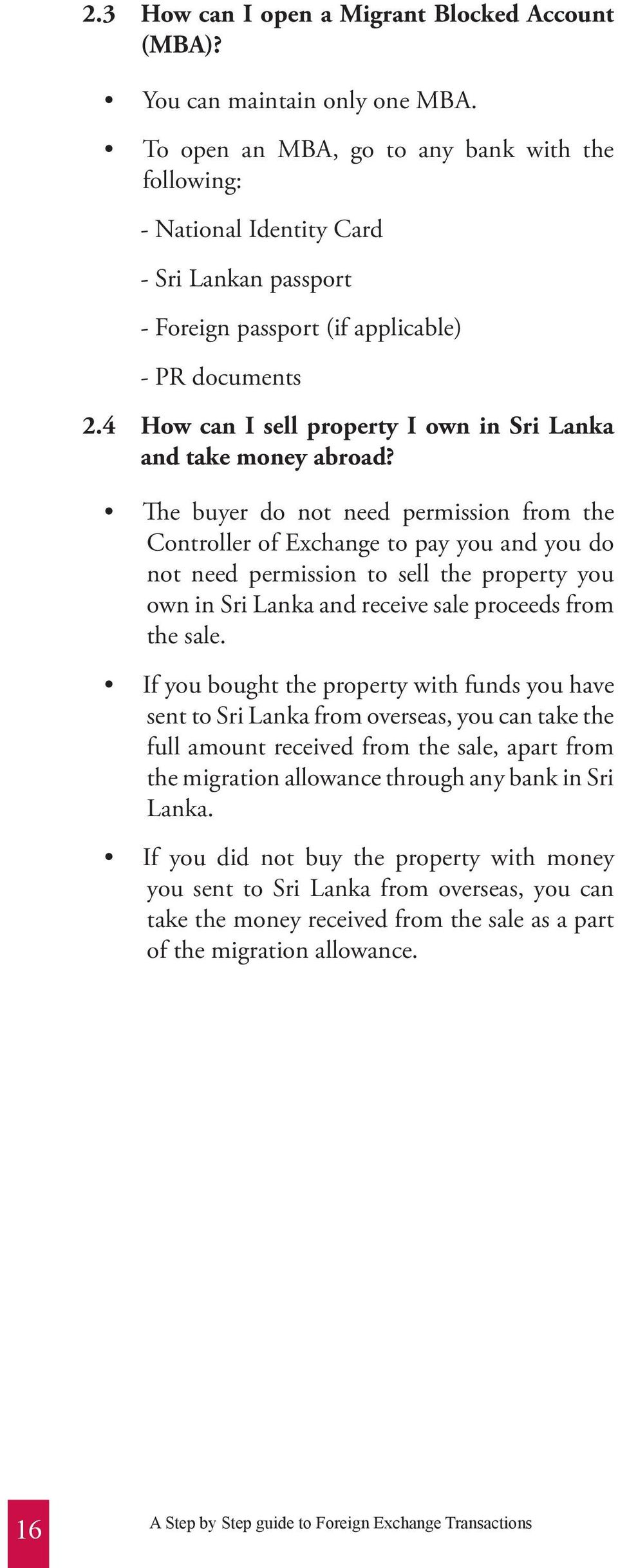 4 How can I sell property I own in Sri Lanka and take money abroad?