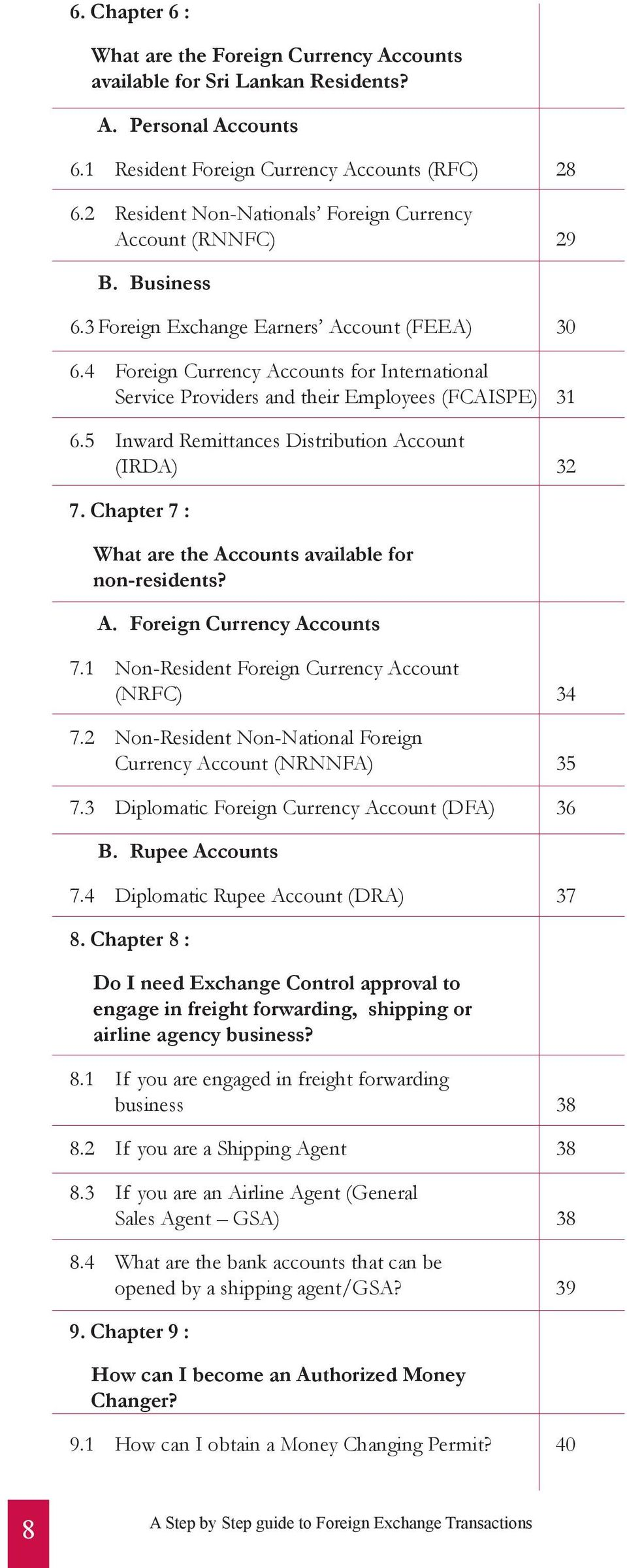 4 Foreign Currency Accounts for International Service Providers and their Employees (FCAISPE) 31 6.5 Inward Remittances Distribution Account (IRDA) 32 7.