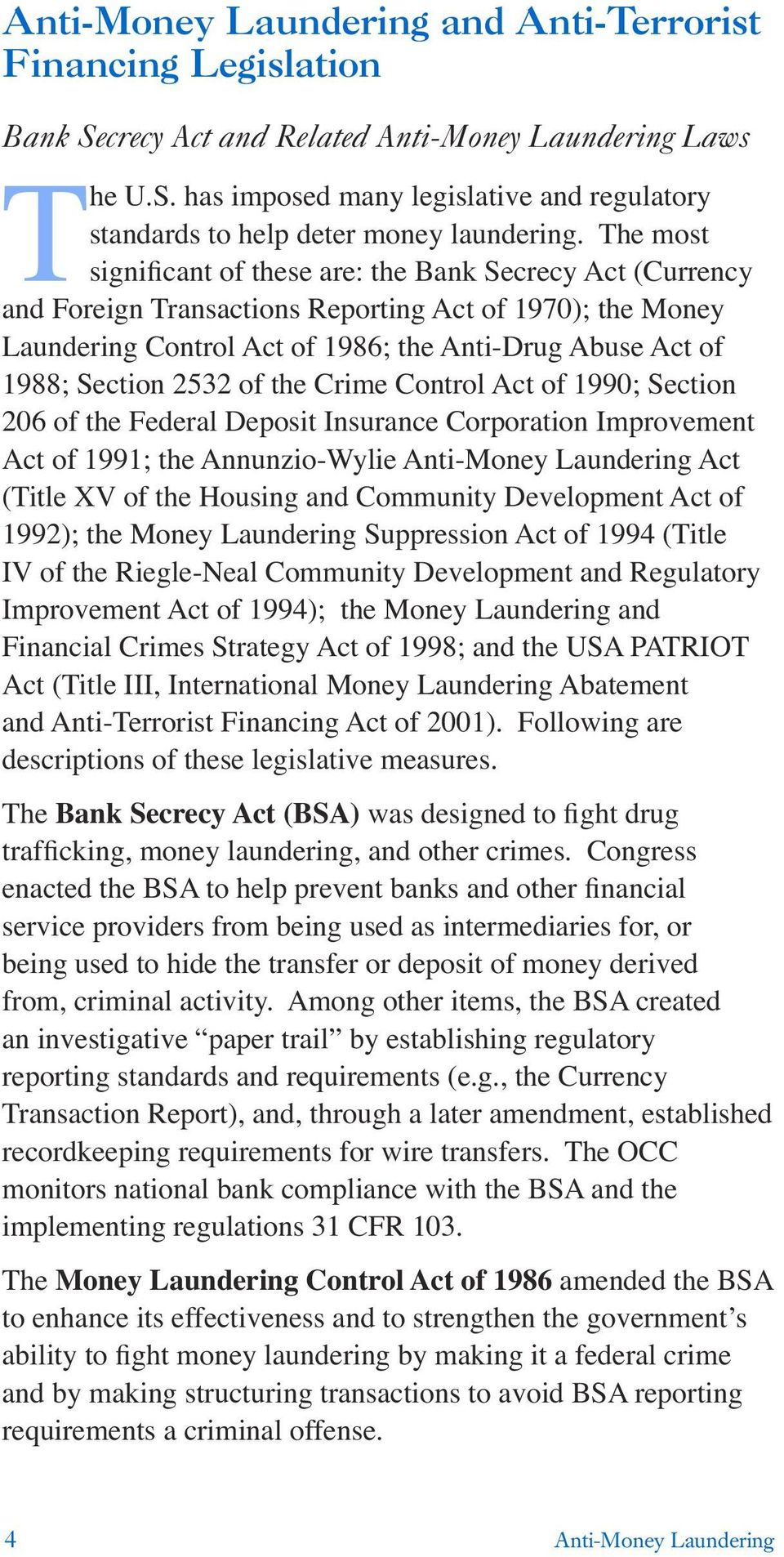 2532 of the Crime Control Act of 1990; Section 206 of the Federal Deposit Insurance Corporation Improvement Act of 1991; the Annunzio-Wylie Anti-Money Laundering Act (Title XV of the Housing and