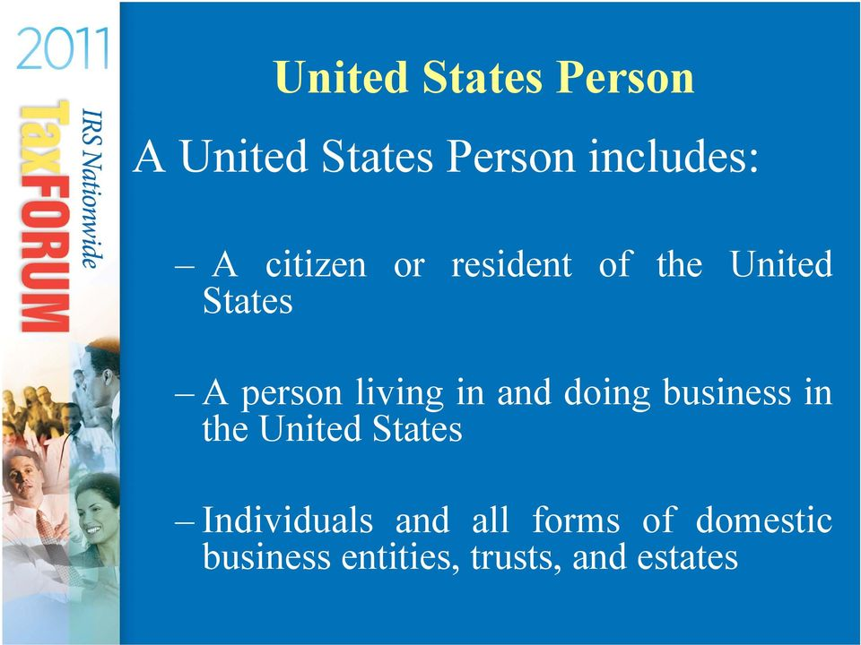 in and doing business in the United States Individuals