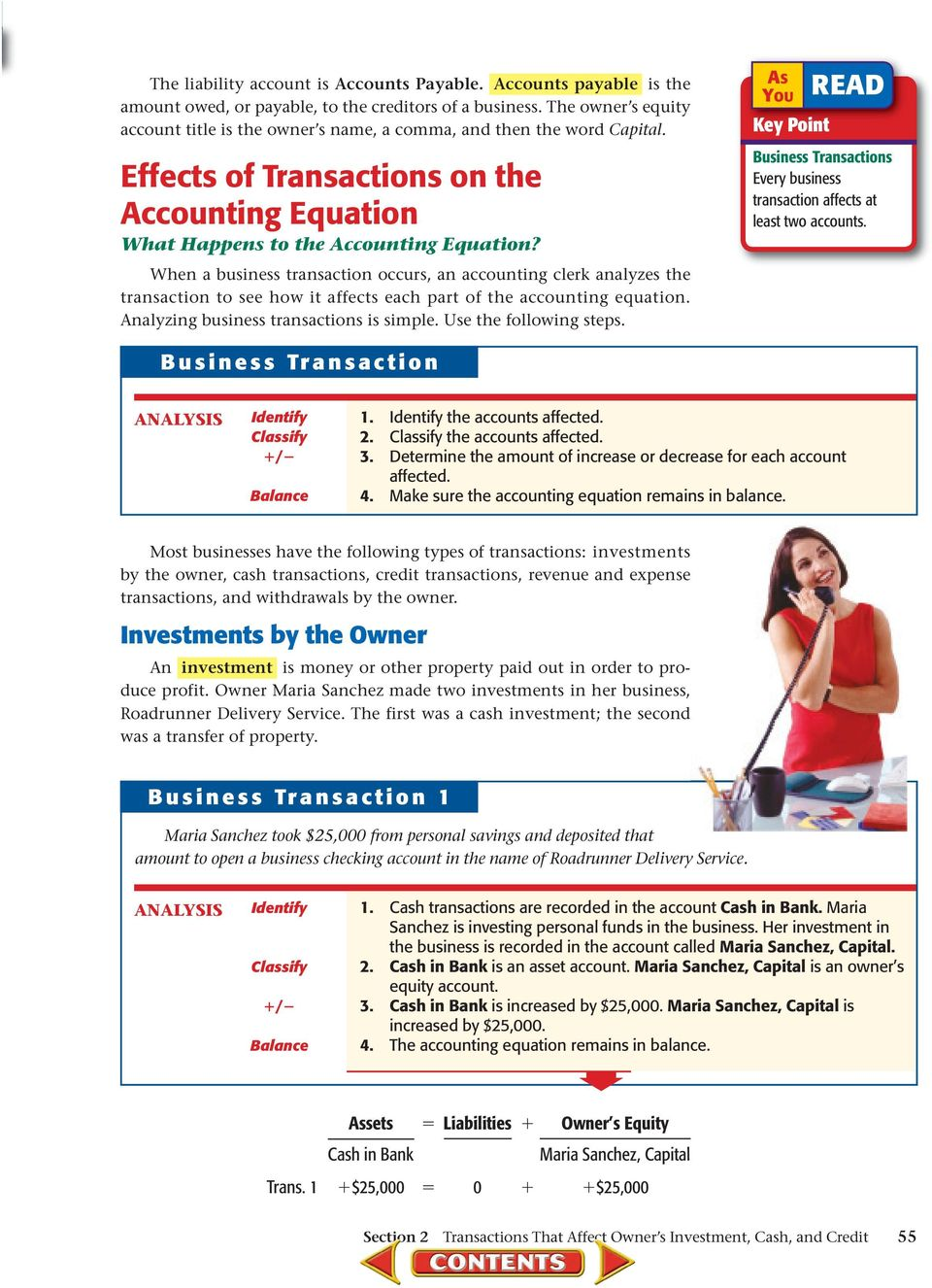 When a business transaction occurs, an accounting clerk analyzes the transaction to see how it affects each part of the accounting equation. Analyzing business transactions is simple.