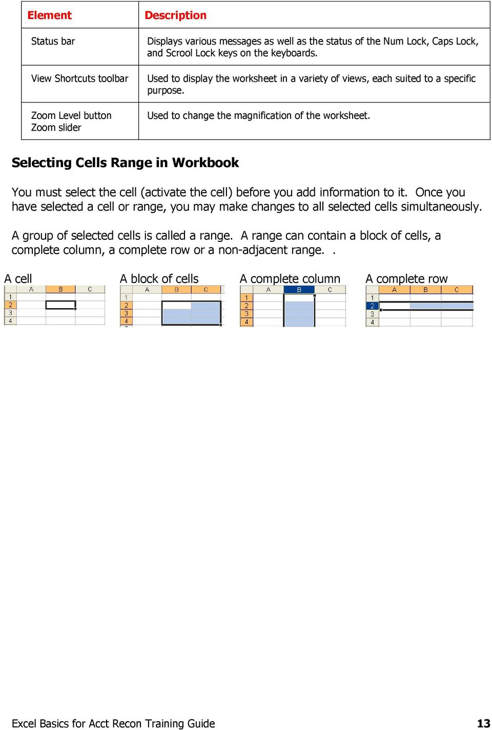 Selecting Cells Range in Workbook You must select the cell (activate the cell) before you add information to it.