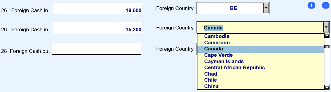 Filing Instructions: How to File the FinCEN CTR Items 26 (Foreign Cash in) and 28 (Foreign Cash out) is where a filer would record, in the foreign currency,
