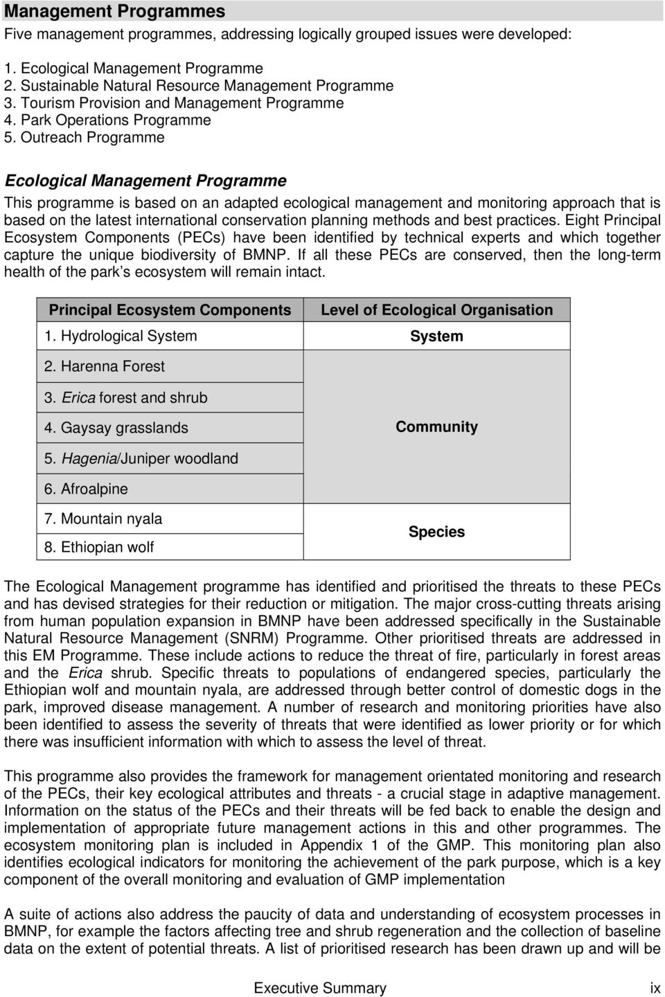 Outreach Programme Ecological Management Programme This programme is based on an adapted ecological management and monitoring approach that is based on the latest international conservation planning