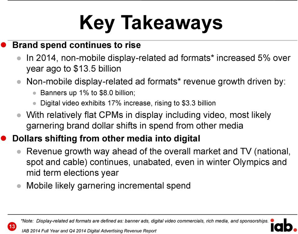 3 billion With relatively flat CPMs in display including video, most likely garnering brand dollar shifts in spend from other media Dollars shifting from other media into digital Revenue growth way