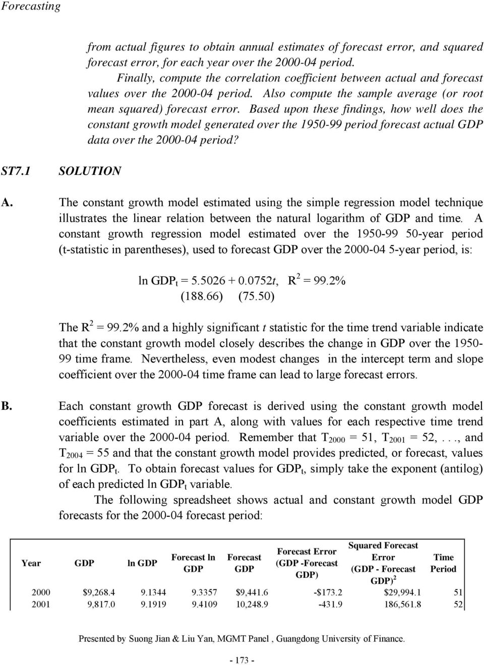 Based upon these findings, how well does the constant growth model generated over the 1950-99 period forecast actual GDP data over the 2000-04 period? ST7.1 SOLUTION A.
