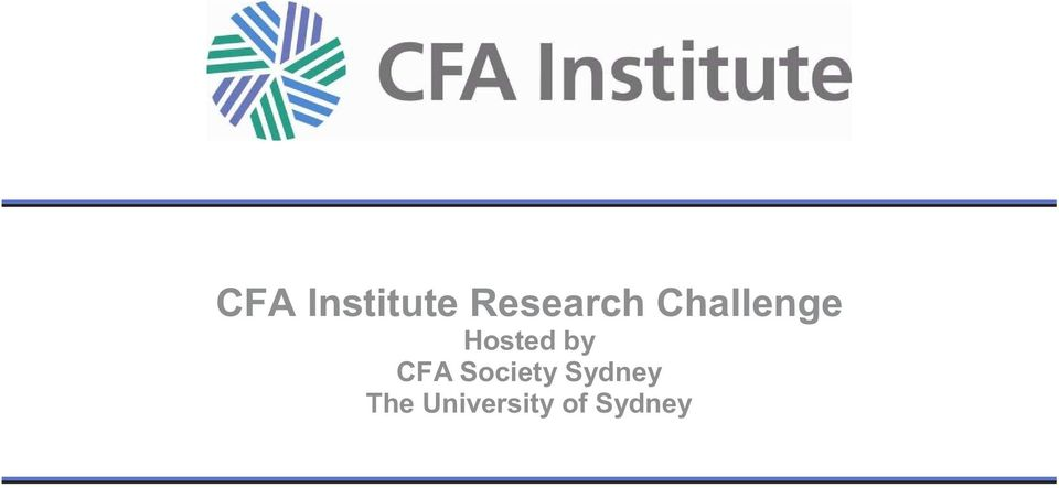 Hosted by CFA Society