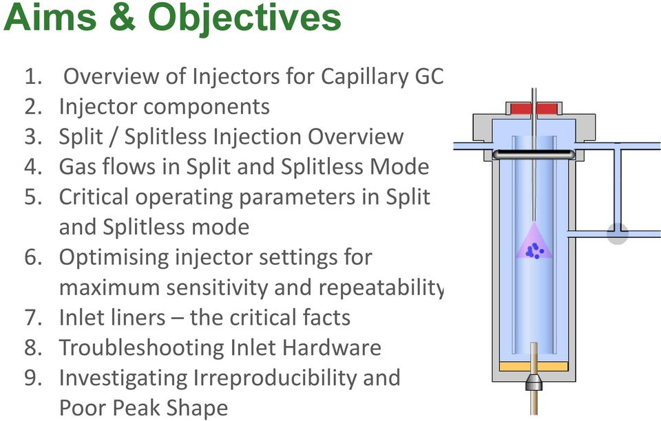 Critical operating parameters in Split and Splitless mode 6.