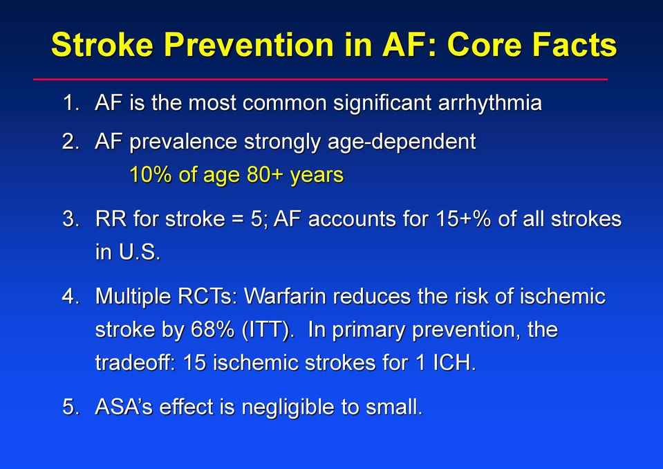 RR for stroke = 5; AF accounts for 15+% of all strokes in U.S. 4.