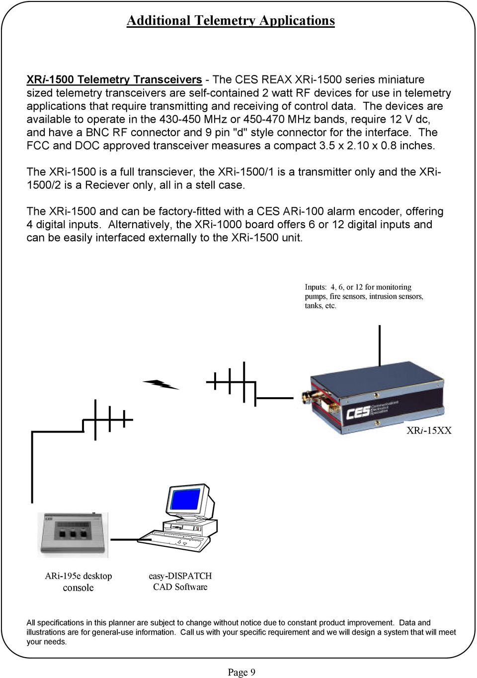 "The devices are available to operate in the 430-450 MHz or 450-470 MHz bands, require 12 V dc, and have a BNC RF connector and 9 pin ""d"" style connector for the interface."
