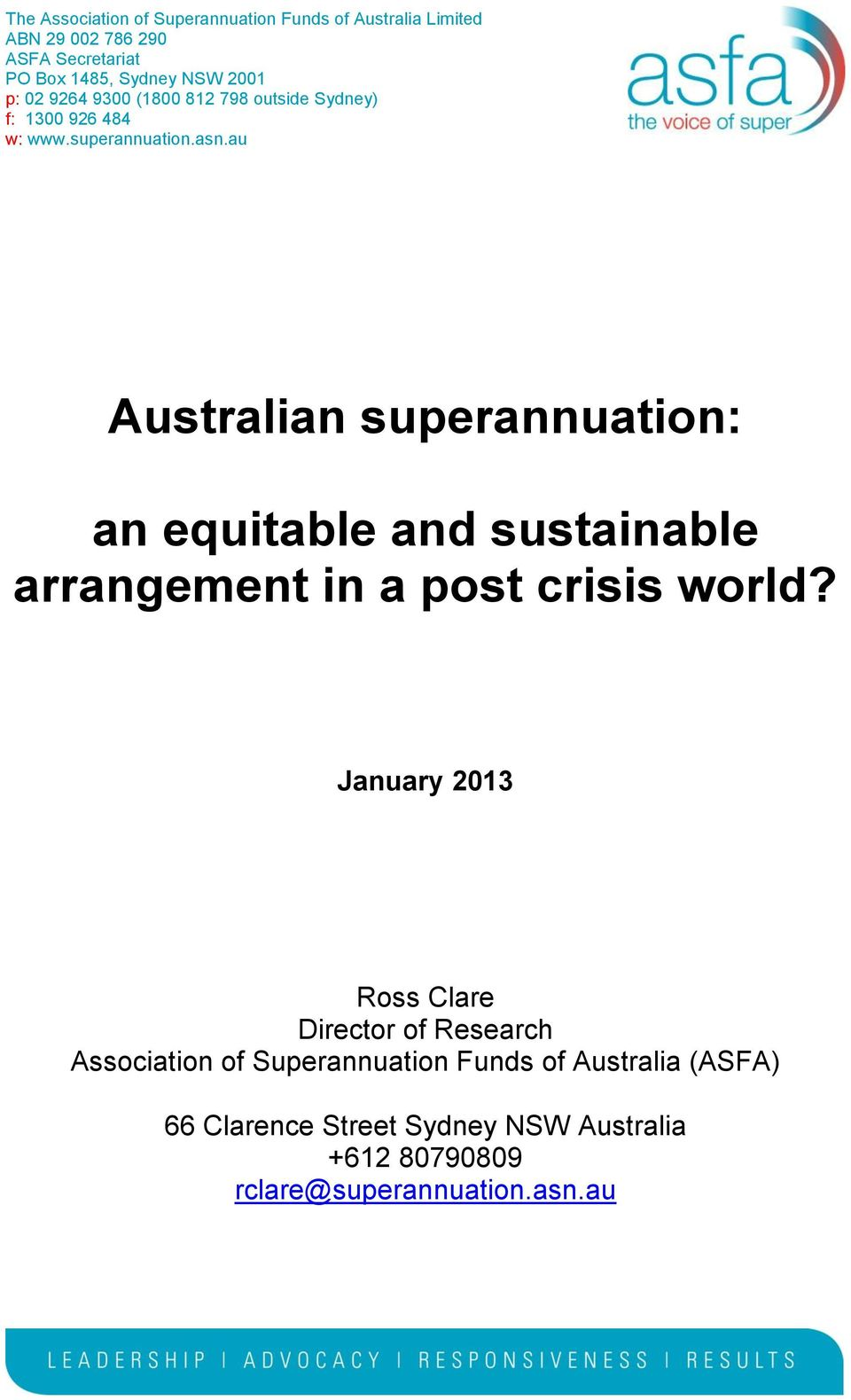 au Australian superannuation: an equitable and sustainable arrangement in a post crisis world?