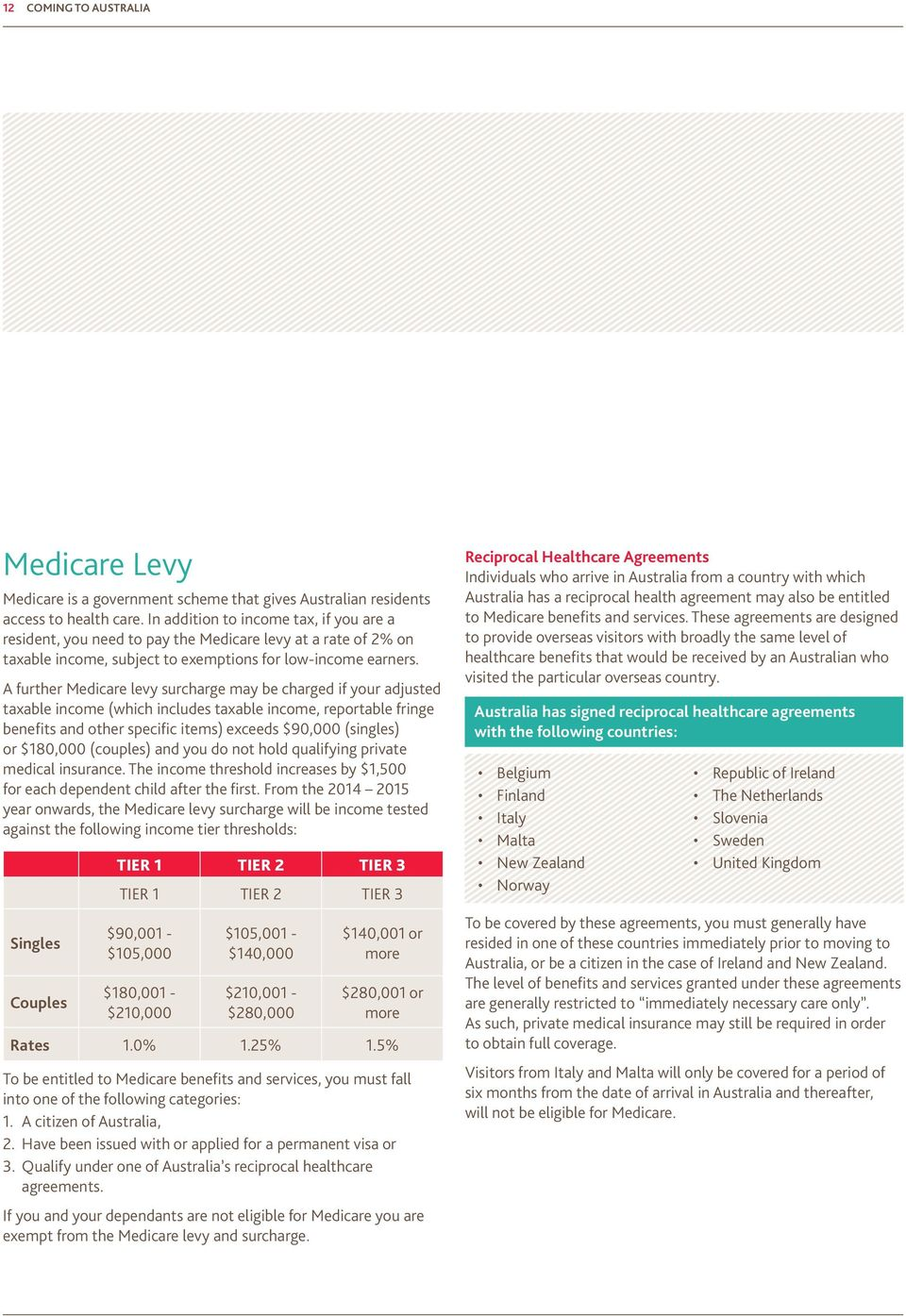 A further Medicare levy surcharge may be charged if your adjusted taxable income (which includes taxable income, reportable fringe benefits and other specific items) exceeds $90,000 (singles) or