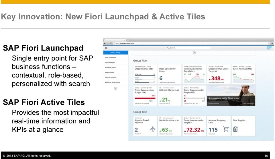 personalized with search SAP Fiori Active Tiles Provides the most