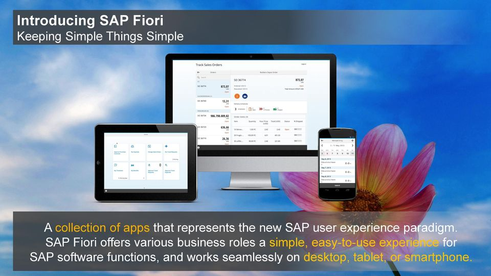 SAP Fiori offers various business roles a simple, easy-to-use experience for