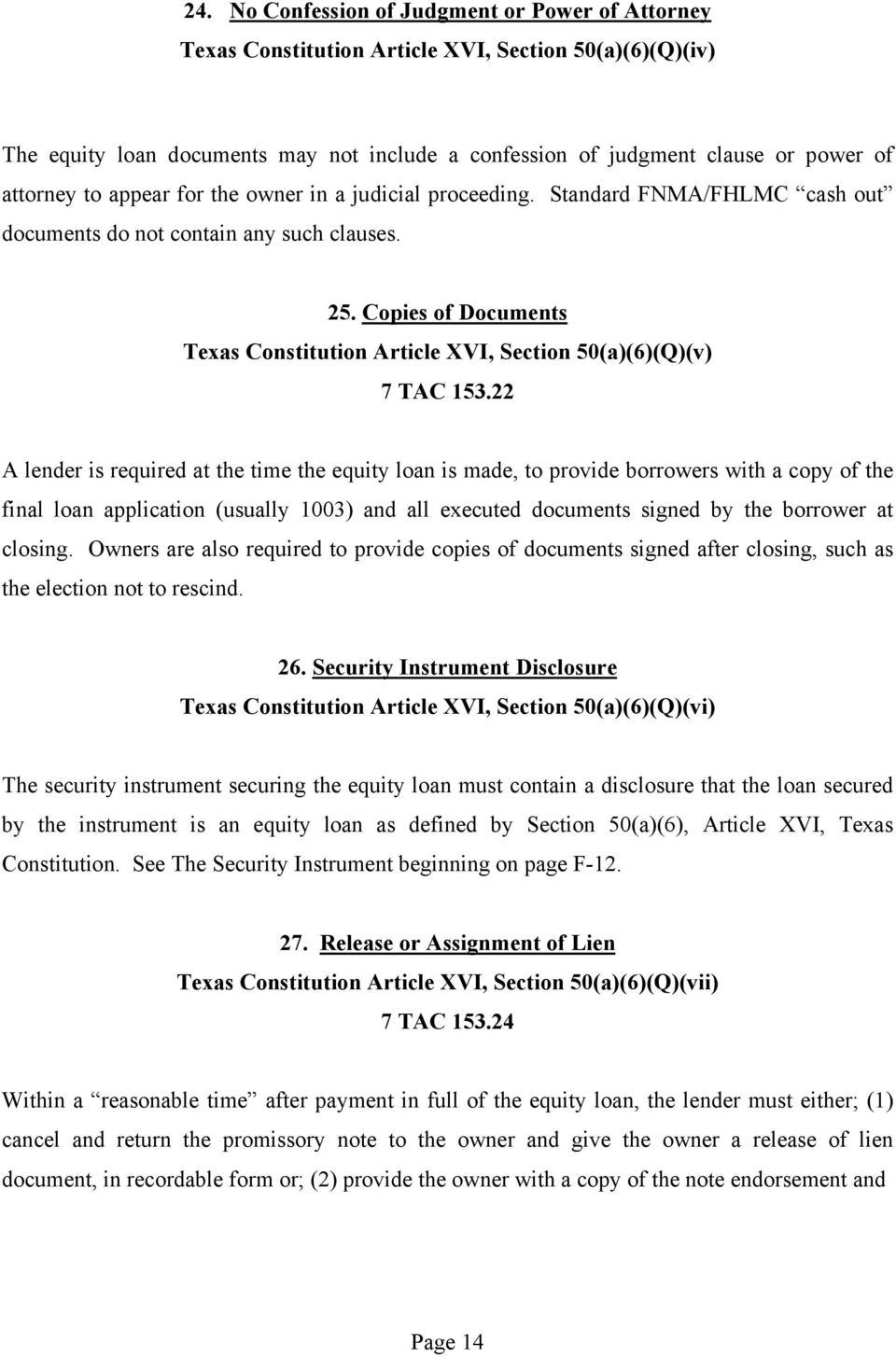 Copies of Documents Texas Constitution Article XVI, Section 50(a)(6)(Q)(v) 7 TAC 153.