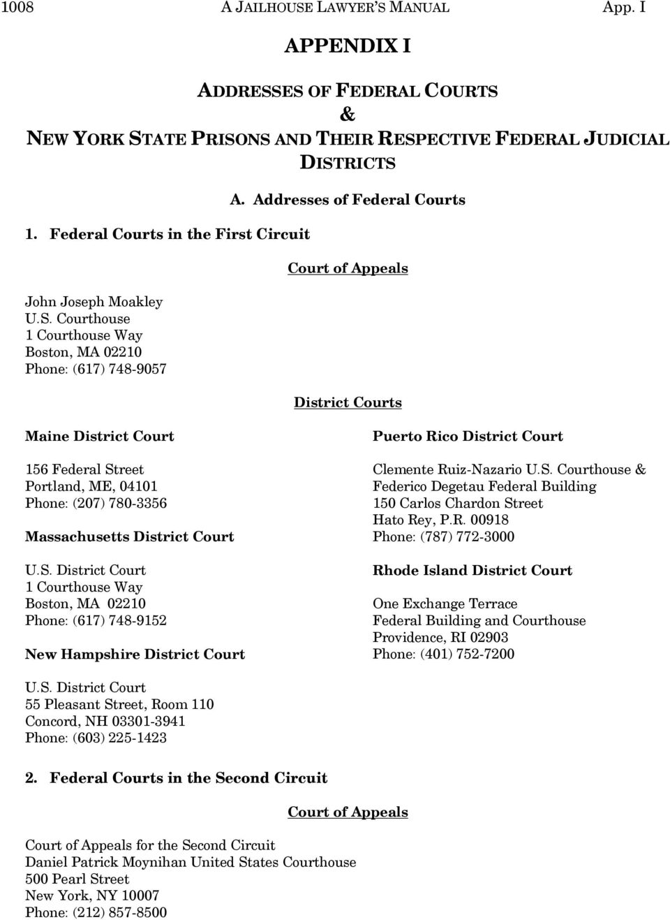 Addresses of Federal Courts Court of Appeals District Courts Maine District Court 156 Federal Street Portland, ME, 04101 Phone: (207) 780-3356 Massachusetts District Court 1 Way Boston, MA 02210