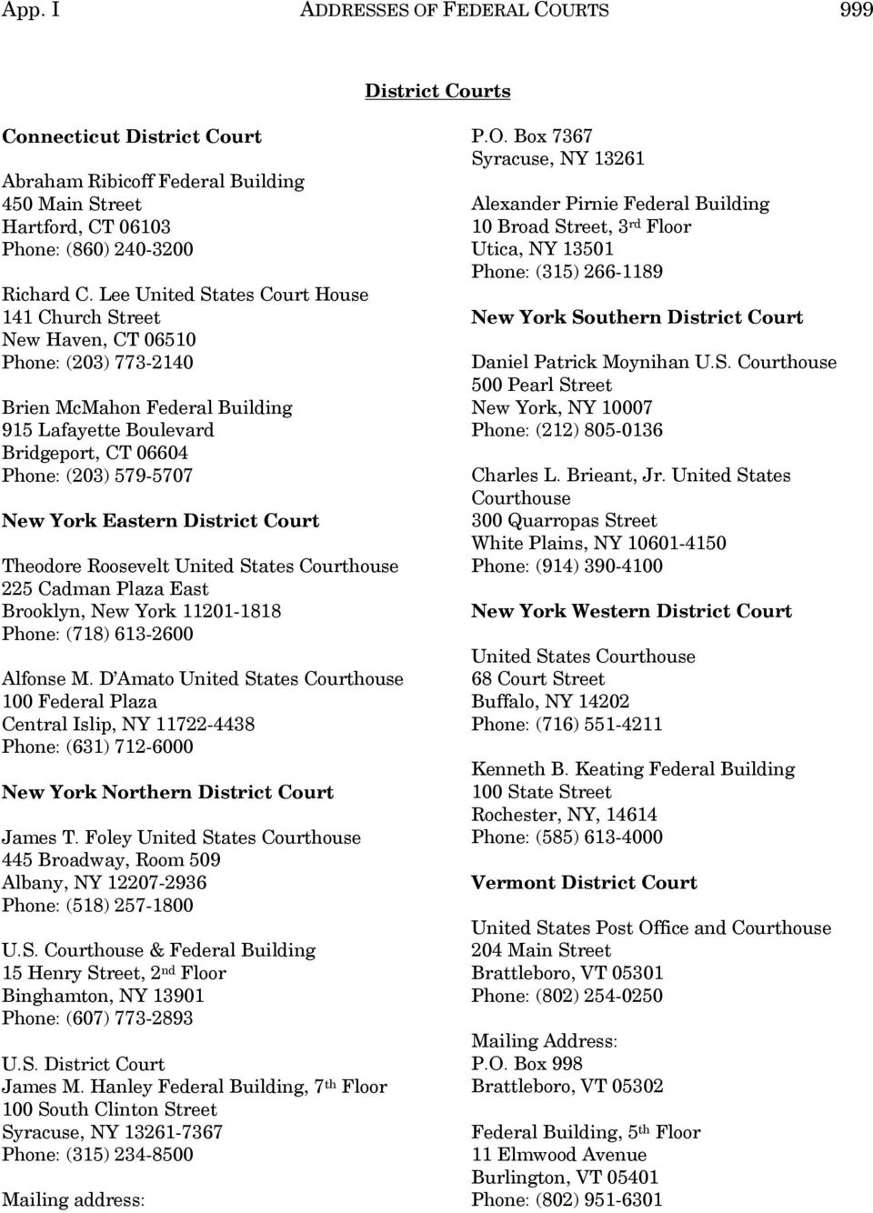 Eastern District Court Theodore Roosevelt 225 Cadman Plaza East Brooklyn, New York 11201-1818 Phone: (718) 613-2600 Alfonse M.