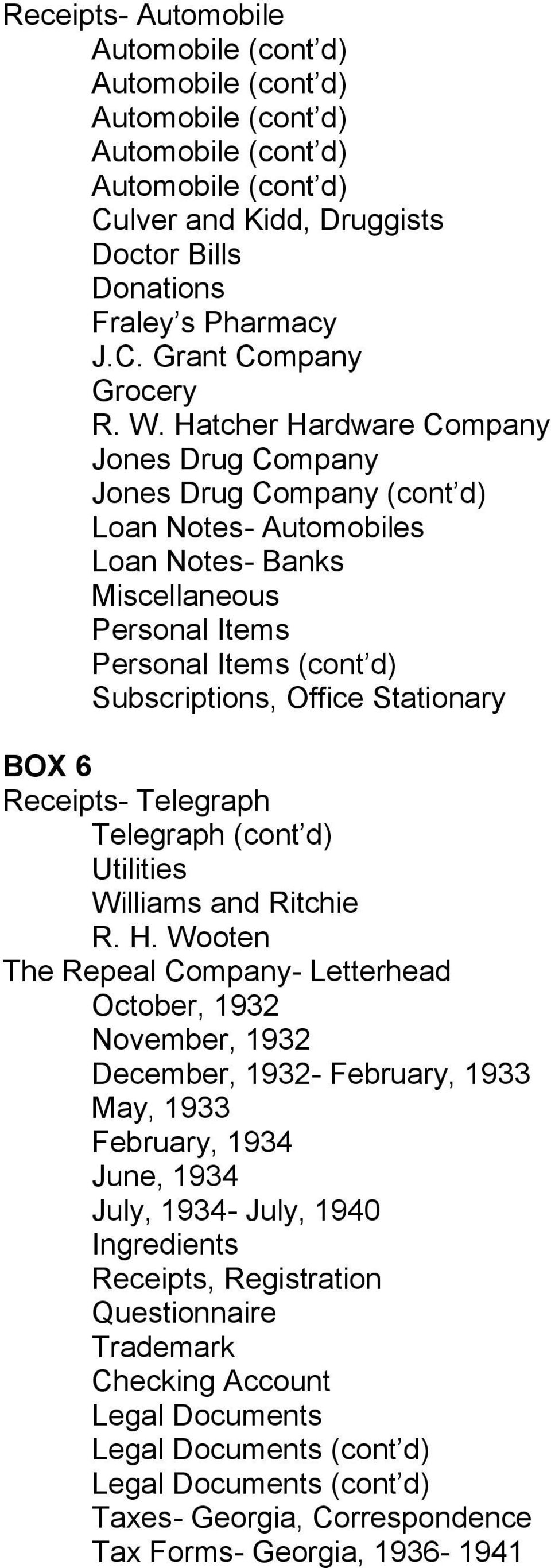 Stationary BOX 6 Receipts- Telegraph Telegraph (cont d) Utilities Williams and Ritchie R. H.