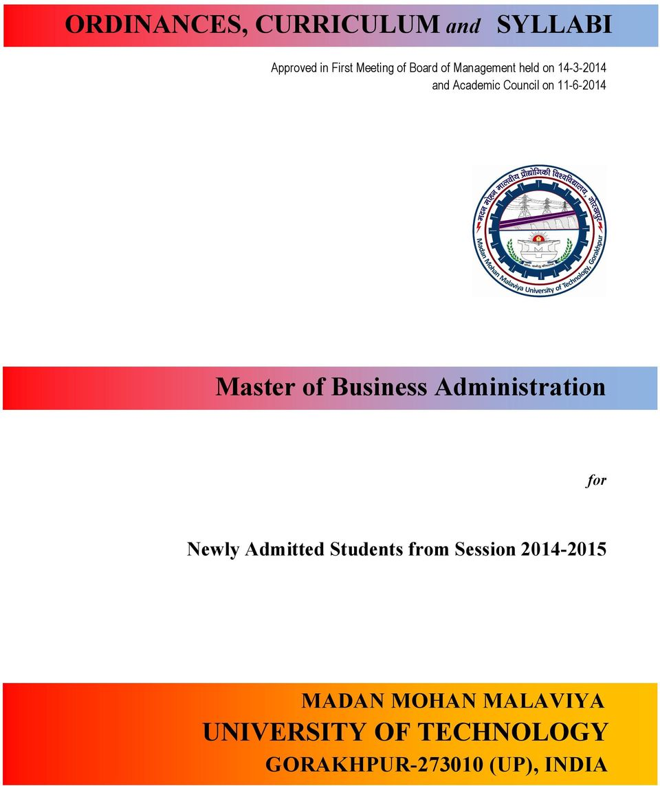 Business Administration for Newly Admitted Students from Session 2014-2015