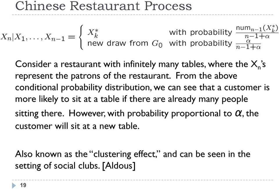 From the above conditional probability distribution, we can see that a customer is more likely to sit at a table if